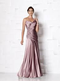 strapless crepe back satin a line dress with sweetheart neckline
