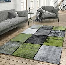 details zu teppich wohnzimmer modern kariert meliert grau schwarz grün
