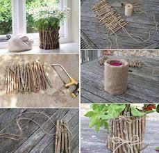 coole bastelideen für diy vase basteln mit naturmaterialien