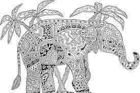 Coloring Pages Abstract Animals Free Elephant For Adults
