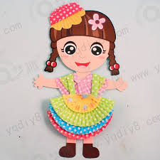 6 PCs Children Handmade Color Paper Doll Toys Kids Child Kindergarten Boys Girls DIY Art Craft Educational Free Shipping In Stickers From