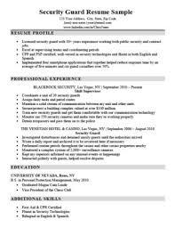 Security Guard Resume Sample Download