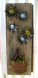 Rustic Floral Wall ArtHome Decor Flower Hanging Metal Art Reclaimed Wood Home Glass Flowers