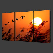 Birds Sunset Set Of Three Canvas S Picture Wall Art Oil Paintings Black White Modern Panel Living Room High Qual In Painting Calligraphy From