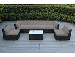 Patio Furniture Cushions Sunbrella by Amazon Com Ohana 7 Piece Outdoor Wicker Patio Furniture