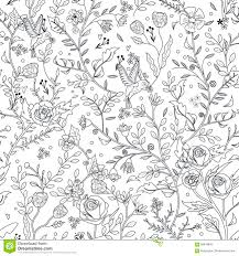 Graceful Seamless Floral Pattern Coloring Page Stock Vector For Pages