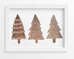 Christmas Tree Print Rustic Wood Wall Art