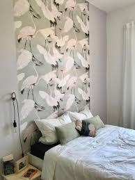 kraniche schlafzimmer wandgestaltung wandfarb