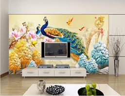 Living Room Backdrop 3d Wall Sticker Themed Peacock Chinese Painting Forliving Art