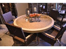 Clearance Dining Room ROUND 56 GLASS TOP OVER WOVEN TABLE WITH 5 CHAIRS HPI 01 0542 870C 883 At Hamilton Park Interiors