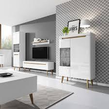 selsey wohnwand wohnzimmer set living mit tv lowboard und 2 x vitrinenschrank wandregal weiß matt weiß hochglanz