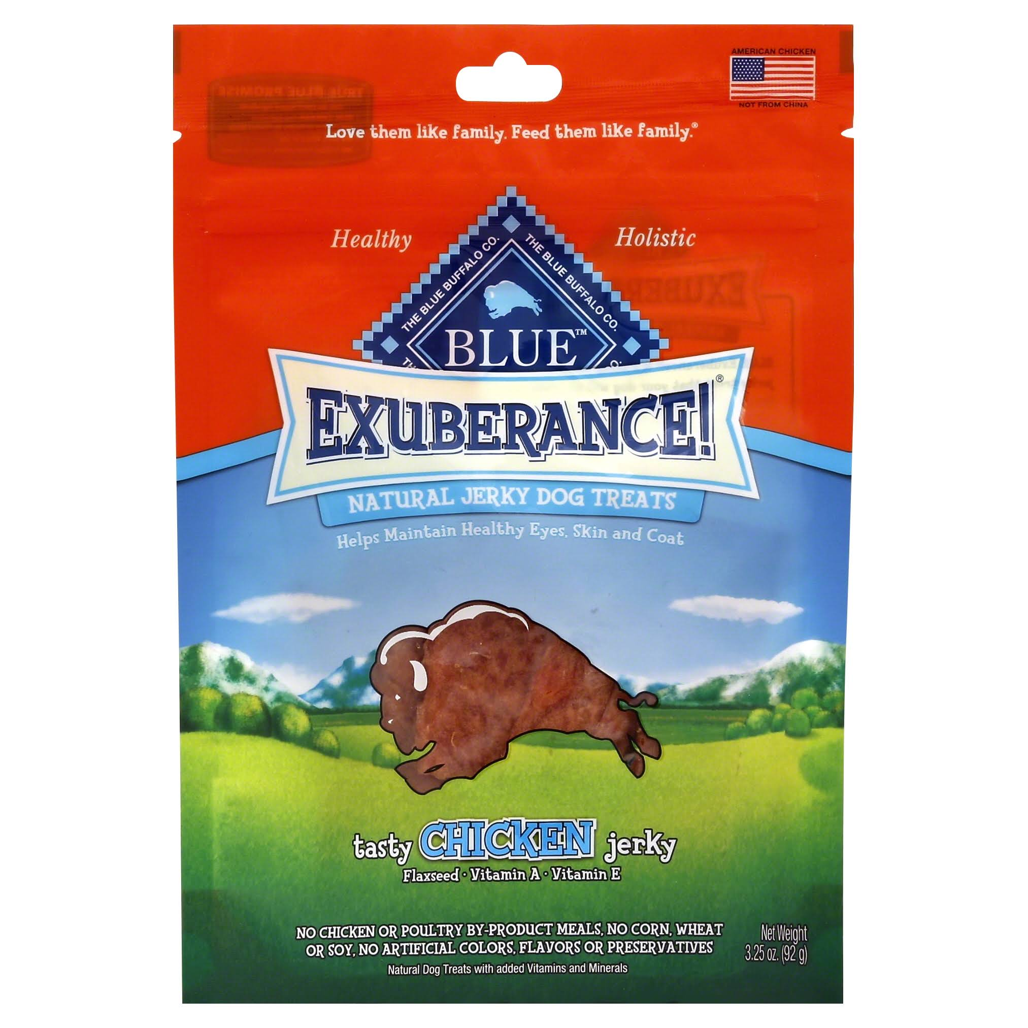 Blue Buffalo Exuberance Natural Dog Treat - Tasty Chicken Jerky, 3.25oz