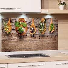 grazdesign fliesenspiegel küche holzoptik glasrückwand küche gewürze rückwand küche küchenmotiv küchenrückwand glas kräuter 80x60cm