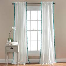 Grey And Turquoise Living Room Curtains by Pom Pom Window Curtains Walmart Com