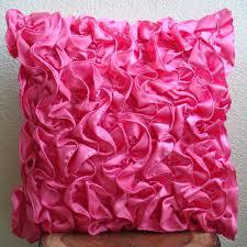 Vintage Fuchsia Throw Pillow Covers 16x16 Inches Satin Pillow