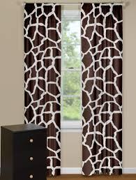 Animal Print Curtain Panels in Brown Giraffe Design