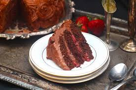 Chocolate Cake with Roasted Strawberries