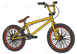Hand Drawing Of An Yellow BMX Bike Stock Vector