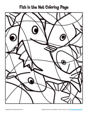 Fish In The Net Bible Story Coloring Page