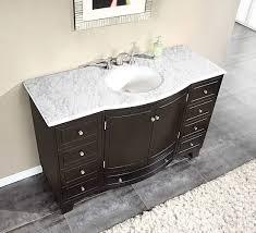 silkroad 55 inch single sink bathroom vanity carrara white marble