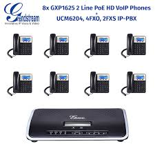 Grandstream UCM6204 IP-PBX With 8x GXP1625 2 Line PoE HD VoIP ...