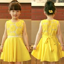 Fashion Girls 2014 New Summer Kids Korean Chiffon Princess Dress Veil Girl Sunflowers Yellow