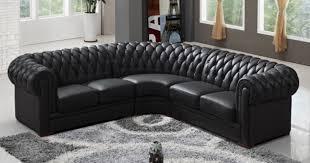 canapé cuir chesterfield deco in canape d angle capitonne cuir chesterfield noir