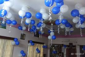 Blue And White Balloon Decoration For Birthday Party