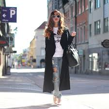 louise xin adidas t shirt style moi black trenchcoat style moi