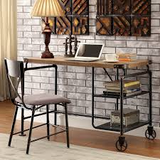Details About Computer Desk 2 Shelf Industrial Home Office Furniture  Writing Antique Black New