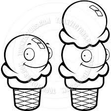 Ice Cream Smiling Black and White Line Art