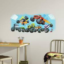 100 Monster Truck Wall Decals RoomMates 25 In W X 21 In H Blaze And Friends Peel And Stick