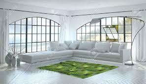 einfarbige weiß wohnzimmer innenraum mit einem auffallenden grünen akzent teppich und eckschrank sofa unter zwei gewölbte sichtfenster 3d rendering