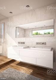 weißer farbe badezimmer mit doppelwaschbecken stockfoto und mehr bilder badewanne