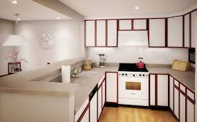 Fascinating Small Apartment Kitchen Design With White Cabinet And Granite Countertop Plus Hanging Lamp