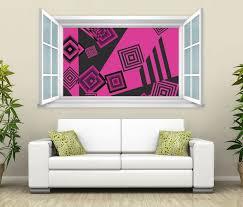 3d wandtattoo fenster pink schwarz quadrate wand aufkleber wanddurchbruch wandbild wohnzimmer 11bd1967 wandtattoos und leinwandbilder günstig