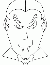 The Head Of Spooky Halloween Vampire Coloring Page