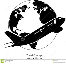 Airplane For Travel Around The World Vector Illustration Icon