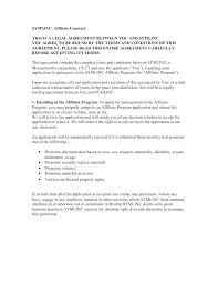 Affiliate Terms And Conditions Template Contract Marketing Agreements Sample Disclaimer