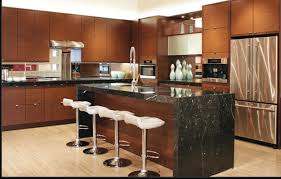 Brown Wooden Kitchen Cabinet And Rectangle Black Granite In F Images