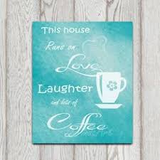 Coffee Printable Turquoise Teal Kitchen Decor By DorindaArt 500
