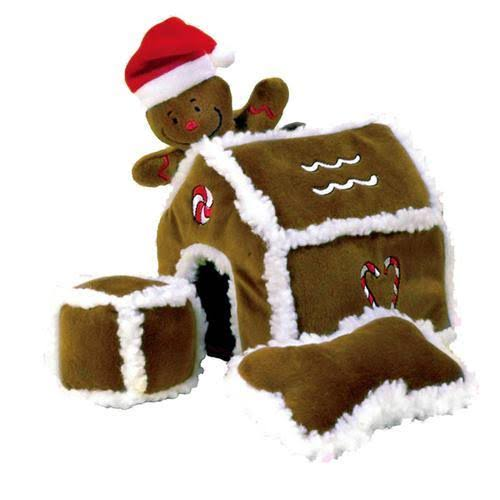Outward Hound Kyjen Gingerbread House Squeaking Puzzle Plush
