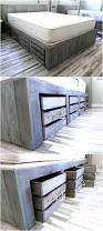 rustic look giant pallet bed with storage wooden pallet beds
