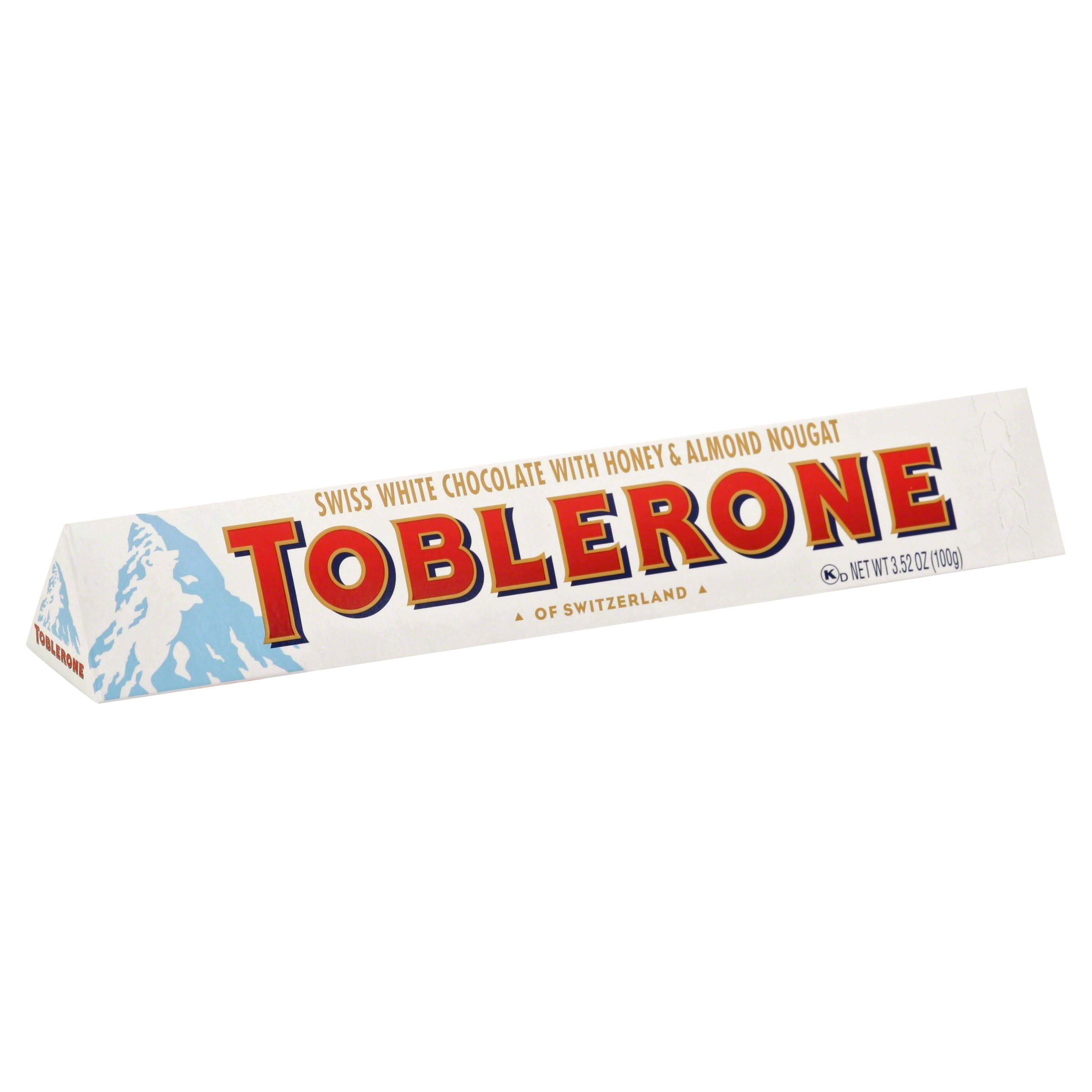 Toblerone White Chocolate, Swiss, with Honey & Almond Nougat - 3.52 oz