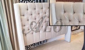 Roma Tufted Wingback Bed by Bedroom Outstanding Tufted Wingback Headboard Diy With Wings Alo