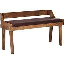 finebuy sitzbank echtleder massivholz bank 108x63x43 cm polsterbank mit rückenlehne bank flur schlafzimmer braun kleine bettbank leder