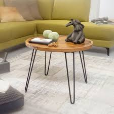 wohnling couchtisch sheesham massivholz 60x45x60 cm wohnzimmertisch rund sofatisch mit haarnadelbeine kaffeetisch aus holz und metall