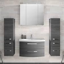 lomado badezimmer komplett set mit 80cm keramik waschtisch spiegelschrank inkl led 2 midischränken fes 4010 66 in graphit struktur