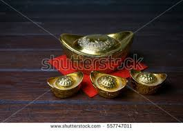 Chinese Gold Ingots On A Rustic Wooden Background Text Means Lucky Wealth And