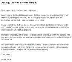 Apology Letter to a Friend Sample